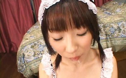 Kinky maid Mari Fujisawa swallows massive cumload