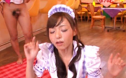 Four Guys Give Maid Aino Kishi The Bukkake She Wants