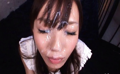 Massive cumshot on a pretty face Aino Kishi