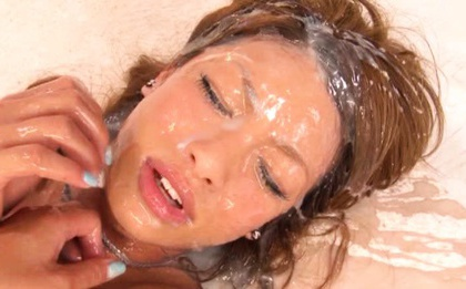 Slim MILF Rumika In Stockings Gets The Largest Facial