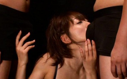 Sexy Saki Kouzai sucks dick and gets cum on her face