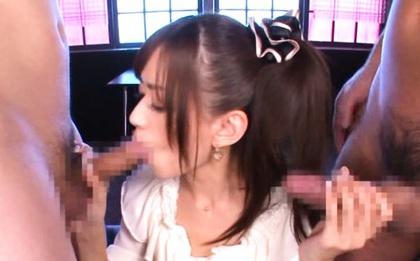 Double blowjob with horny Asian babe Airi Kijima
