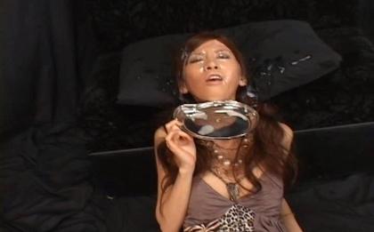 Rino Toma Asian doll enjoys masturbation and bukkake