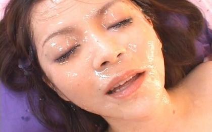 Rina Koizumi Hot Asian babe gets a sticky cum facial