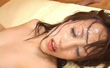 Arisa Kanno Hot Asian model is amazing at bukkake and swallowing cum
