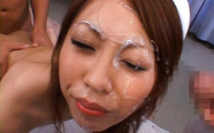 Saki Kozakura Lovely Asian doll gets a cum facial