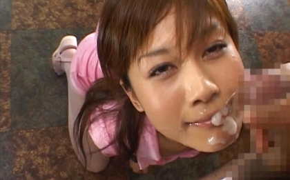 Hime Kamiya Asian teen in hard bukkakegets cum on her face
